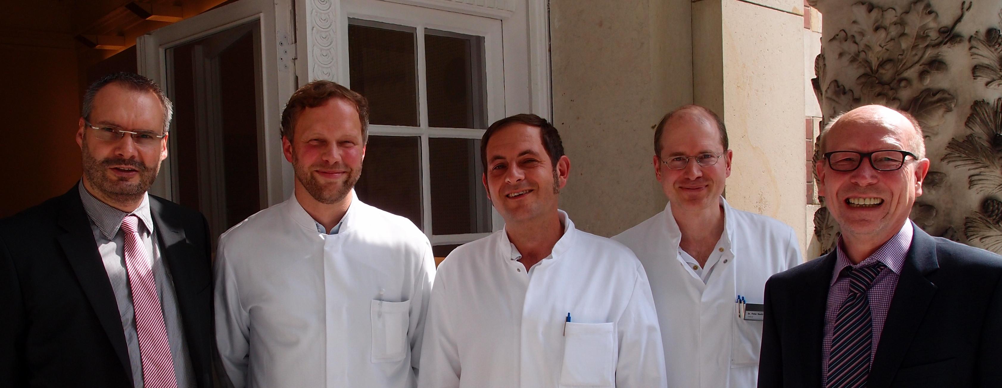 Ceschäftsführer und Chefärzte der Klinik für Orthopädie und Unfallchirurgie am Immanuel Krankenhaus Berlin: Roy J. Noack, Dr. Michael Berndsen, Georg Garain, Udo Schmidt (von links)